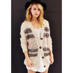 UO Kimchi Blue Striped Fuzzy Cardigan Sweater XS